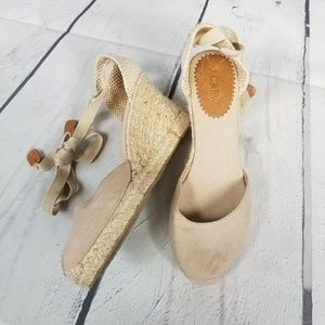 J CREW Sardinia ankle tie espadrilles wedge